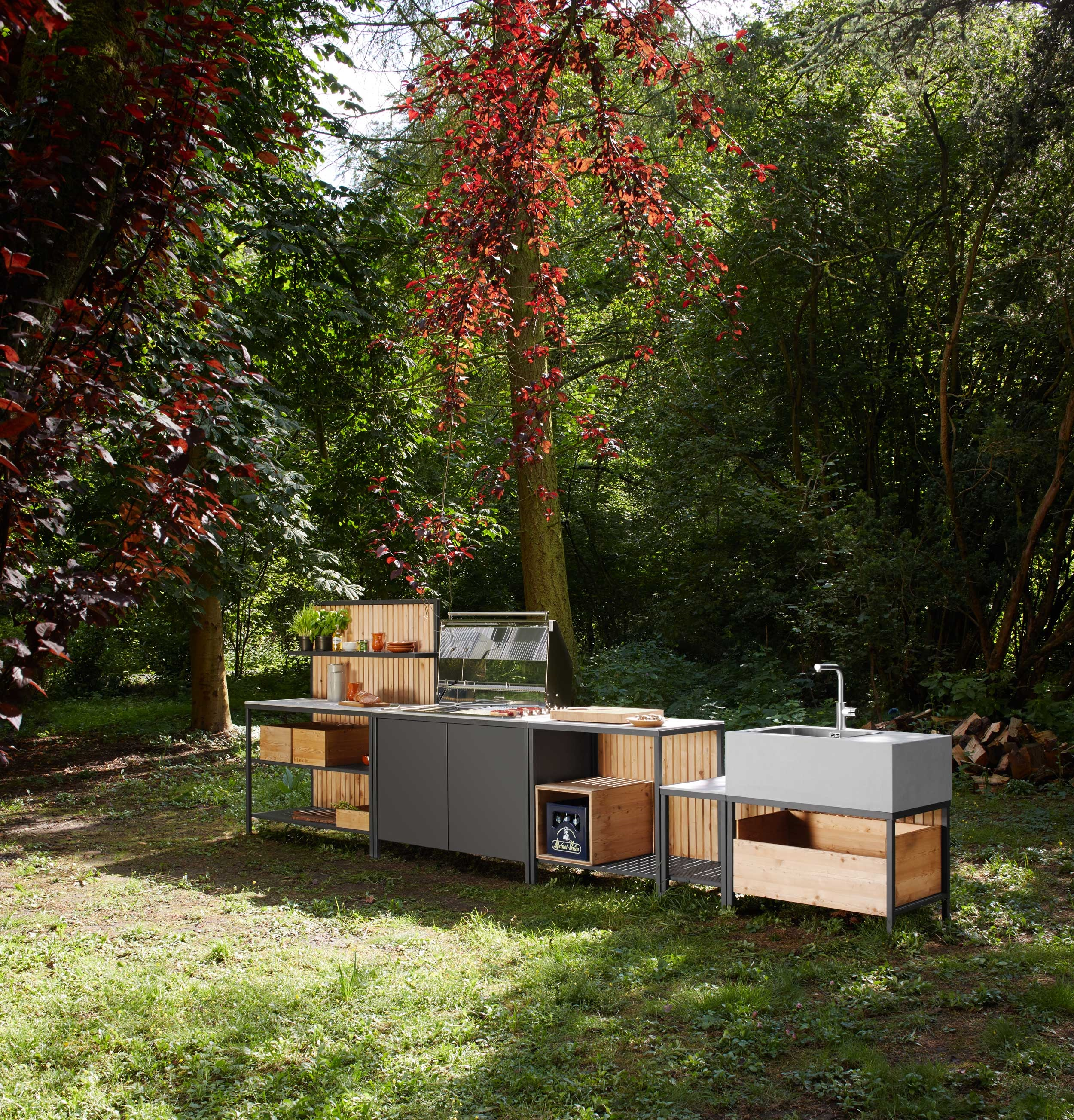 outdoor kitchen block in backyard forest