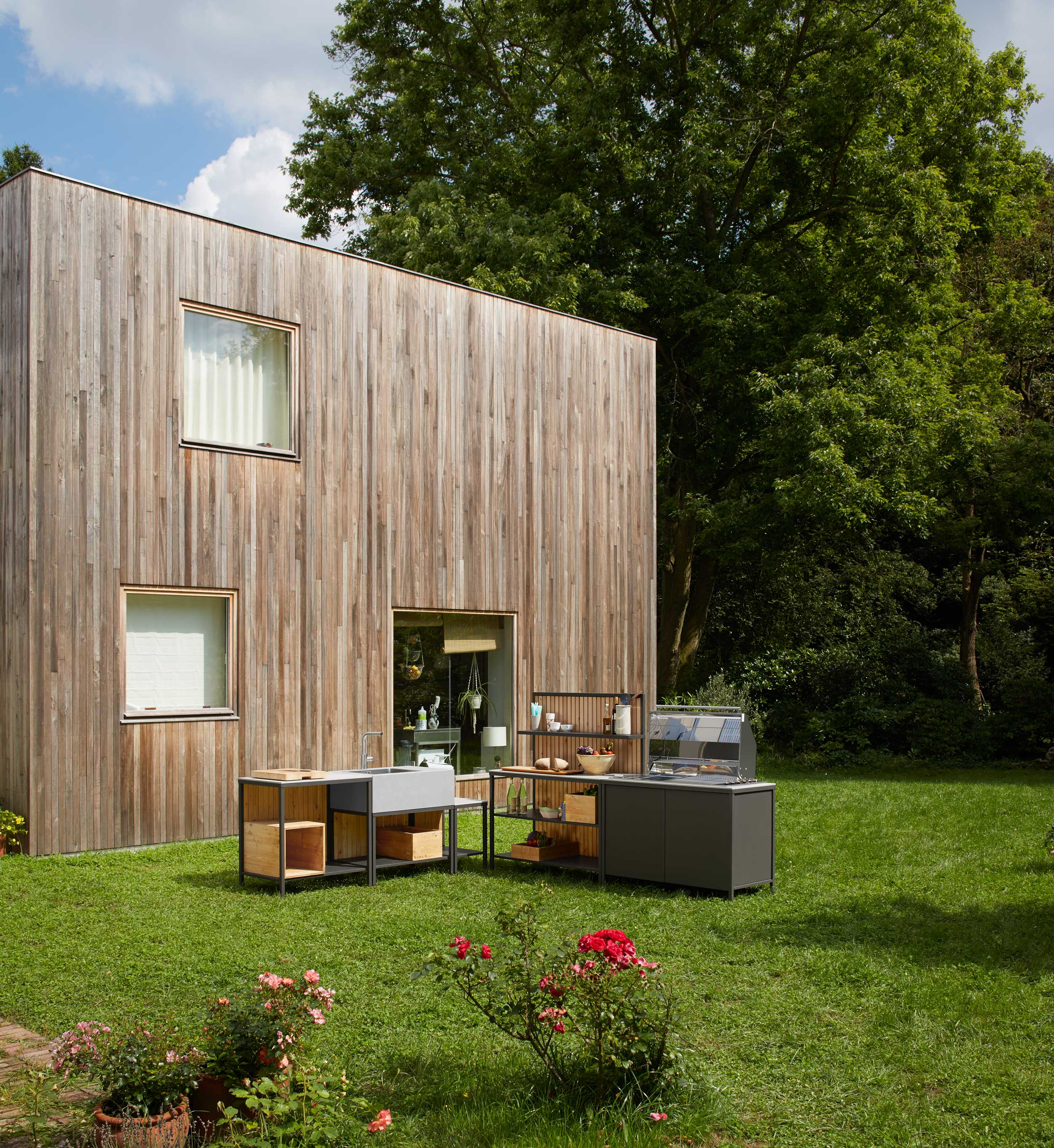 open air cooking with block kitchen