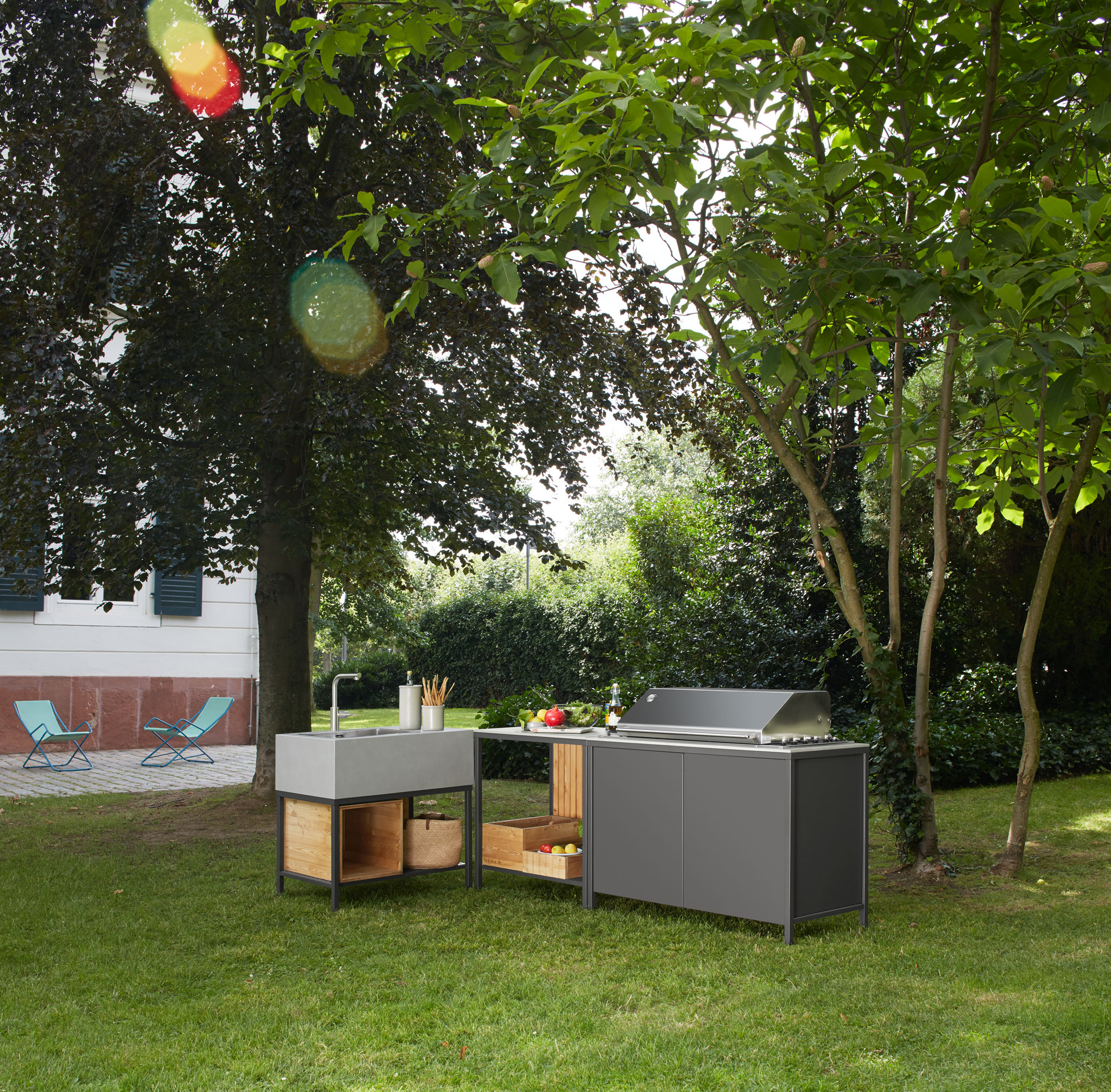 outdoor kitchen block with 3 elements